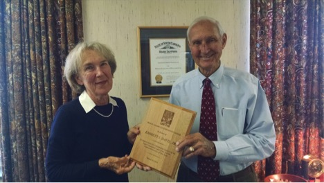 "Peggy Adams presents the 2016 ""Peggy Adams Conservation Award"" to Emmett I. Davis, Jr. Mr. Davis and his family donated a conservation easement with almost 11,000 acres in 2009. Since then they have place conservation easements on several thousand more acres, some of which has been sold with the easement on it. They now own over 13,000 acres with a conservation easement in the Hard Labor Creek and Cuffeytown Creek watersheds, making it one of the largest private protected areas in the state."