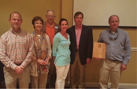 2015 Conservation Easement Donors. From left. Dr. Bryan Green, BGT Timbers LLC; Robin and Jody Patrick, Southern Resources LLC; Dr. Kathleen and Dr. Brant Parramore; and Tim Burke, Davis Land & Timber LP and Eden Hall LP. Not pictured: Gary Alexander, Generostee, Weems Mitigation & Restoration LLC; Kathleen Culp; Tracey Erickson, Long Cane Timber LLC.